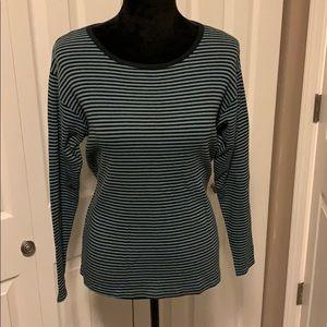 Karen Kane Easy Wear Long Sleeved Striped Shirt
